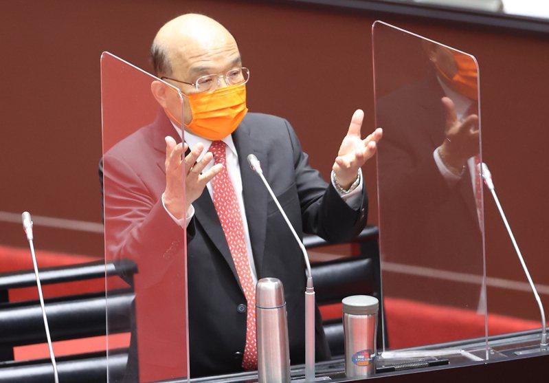 蘇貞昌在立法院接連出現「爆氣」答詢。記者曾學仁/攝影