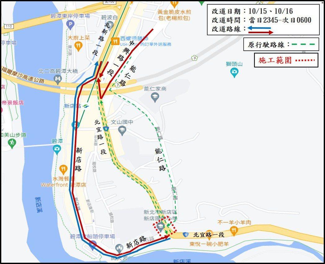 新店陸橋拆除封路改道動線圖。圖/新北市工務局提供