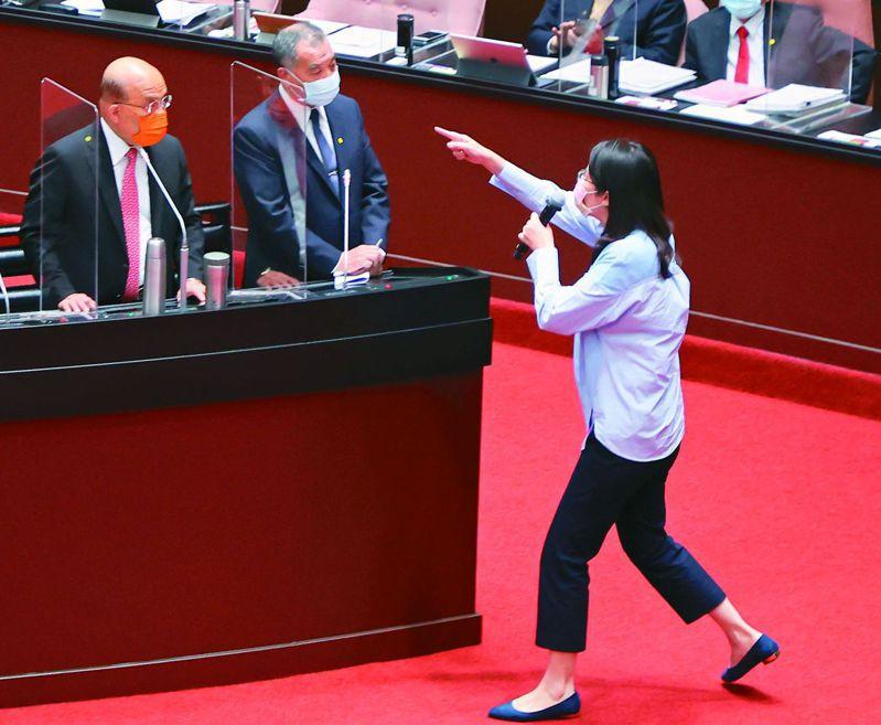 國民黨立委鄭麗文(右)聽到蘇揆(左)罵「袂見笑啦」後,衝到備詢台前要求道歉。記者曾學仁/攝影