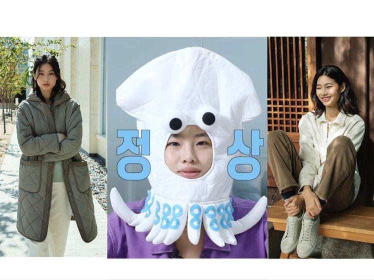 鄭浩妍戴了魷魚頭套可愛的不得了,也同時拿下韓國戶外品牌的代言。圖/取自IG