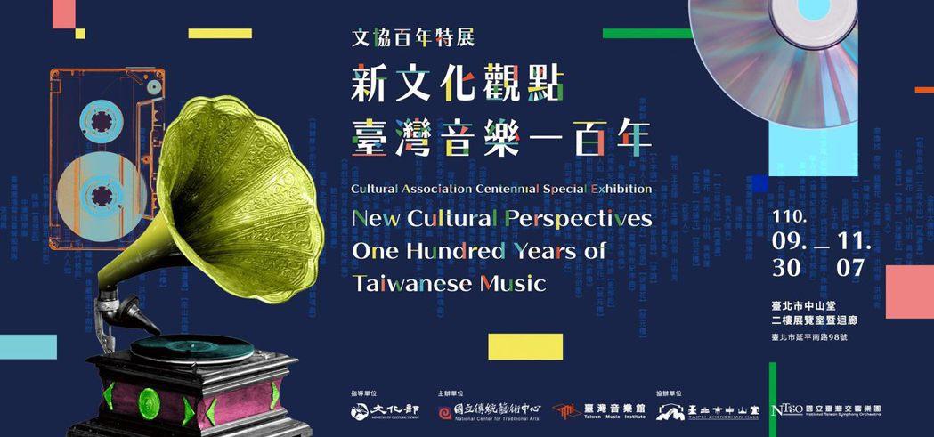 《新文化觀點 臺灣音樂一百年》文協百年特展海報。 圖/取自中山堂