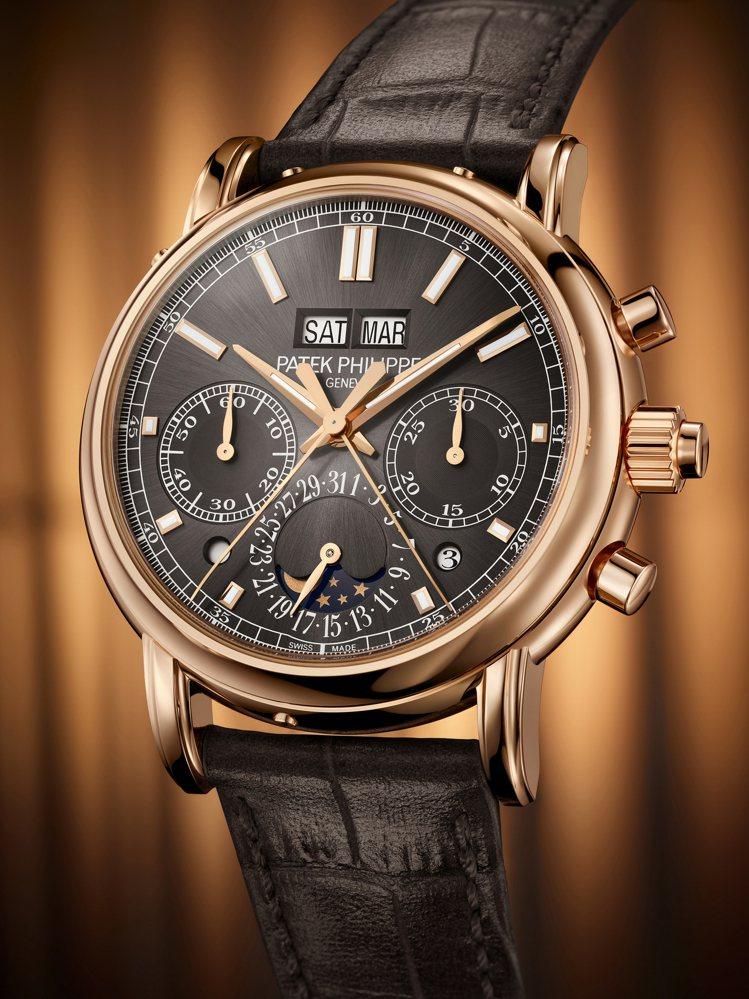 百達翡麗編號5204R-011玫瑰金雙秒追針萬年曆腕表,903萬9,000元。圖...