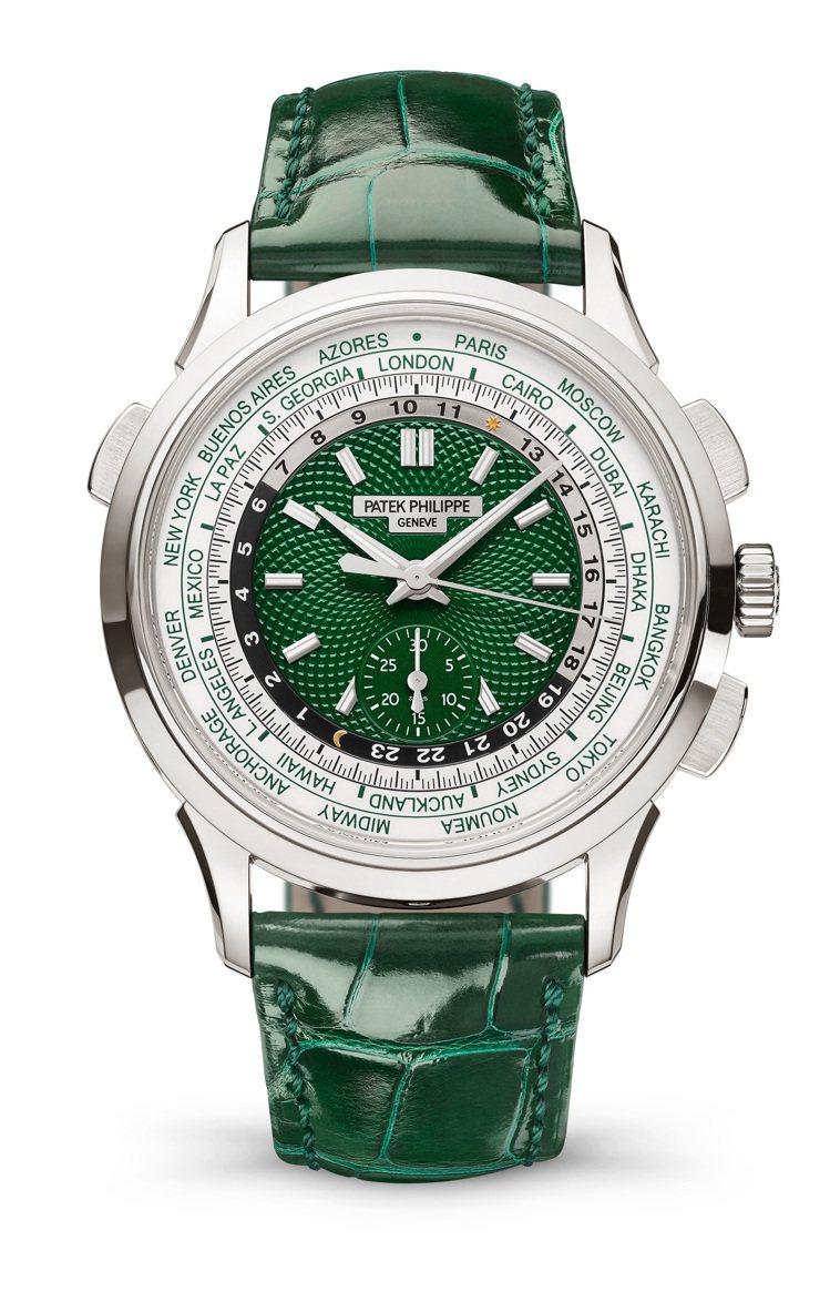 百達翡麗編號5930P-001鉑金自動飛返計時世界時間腕表,293萬2000元。...