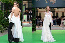「妙麗」艾瑪華森辣秀美背登紅毯 白色禮服藏玄機搶走凱特王妃丰采