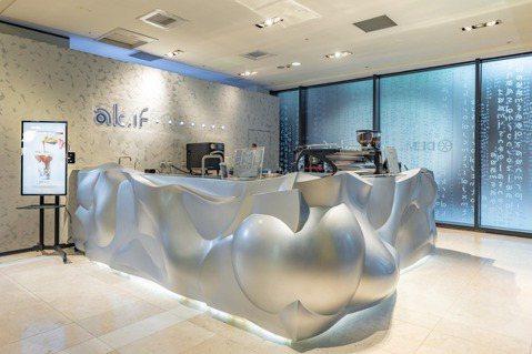 位於新光三越A8一樓的Ak.if店內咖啡工作吧台,呈現不規則曲線,出自蔣友柏的設...