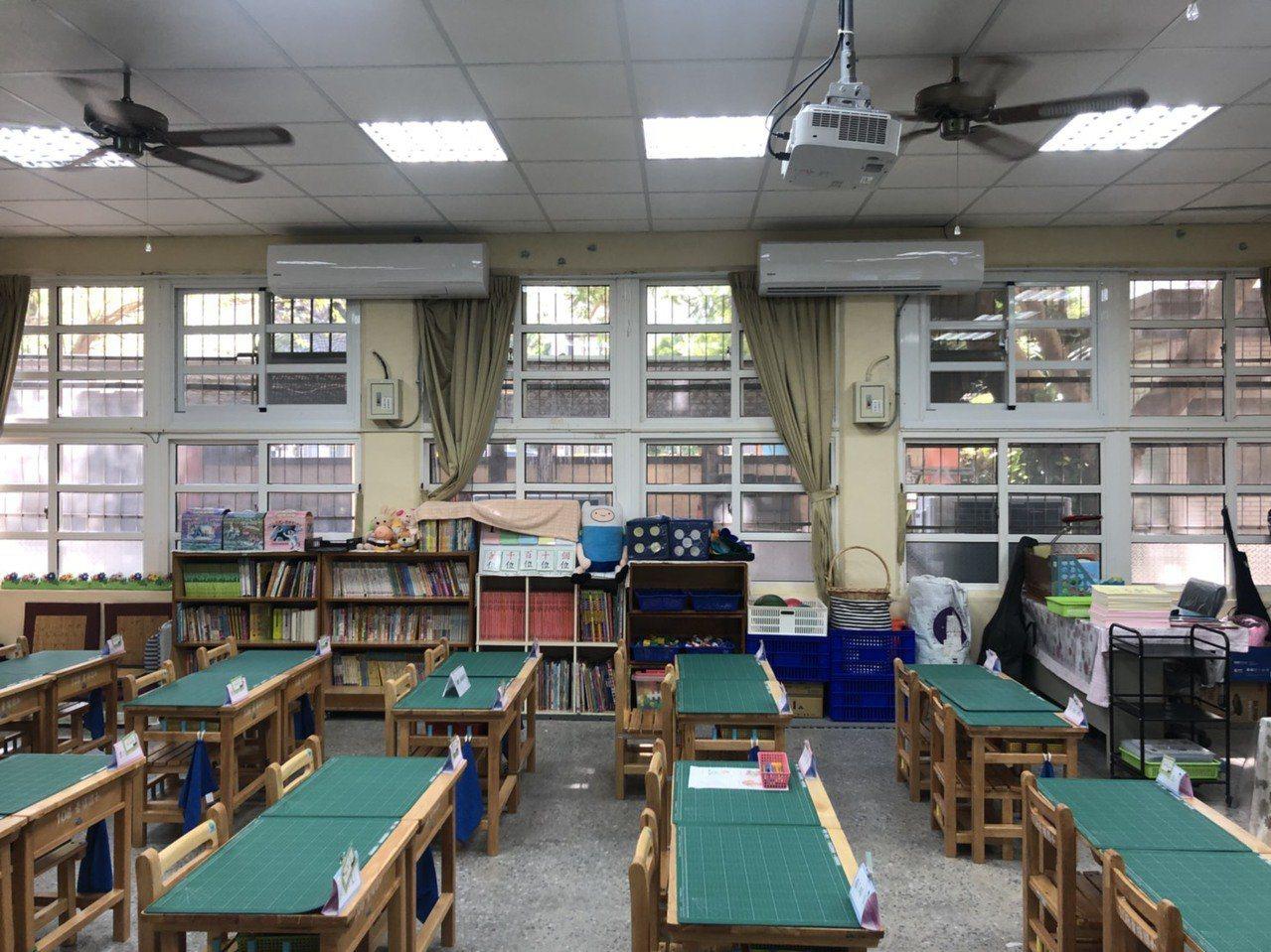以前教室內都以吊掛式風扇或是立扇為主(左),2022年將會班班有冷氣。