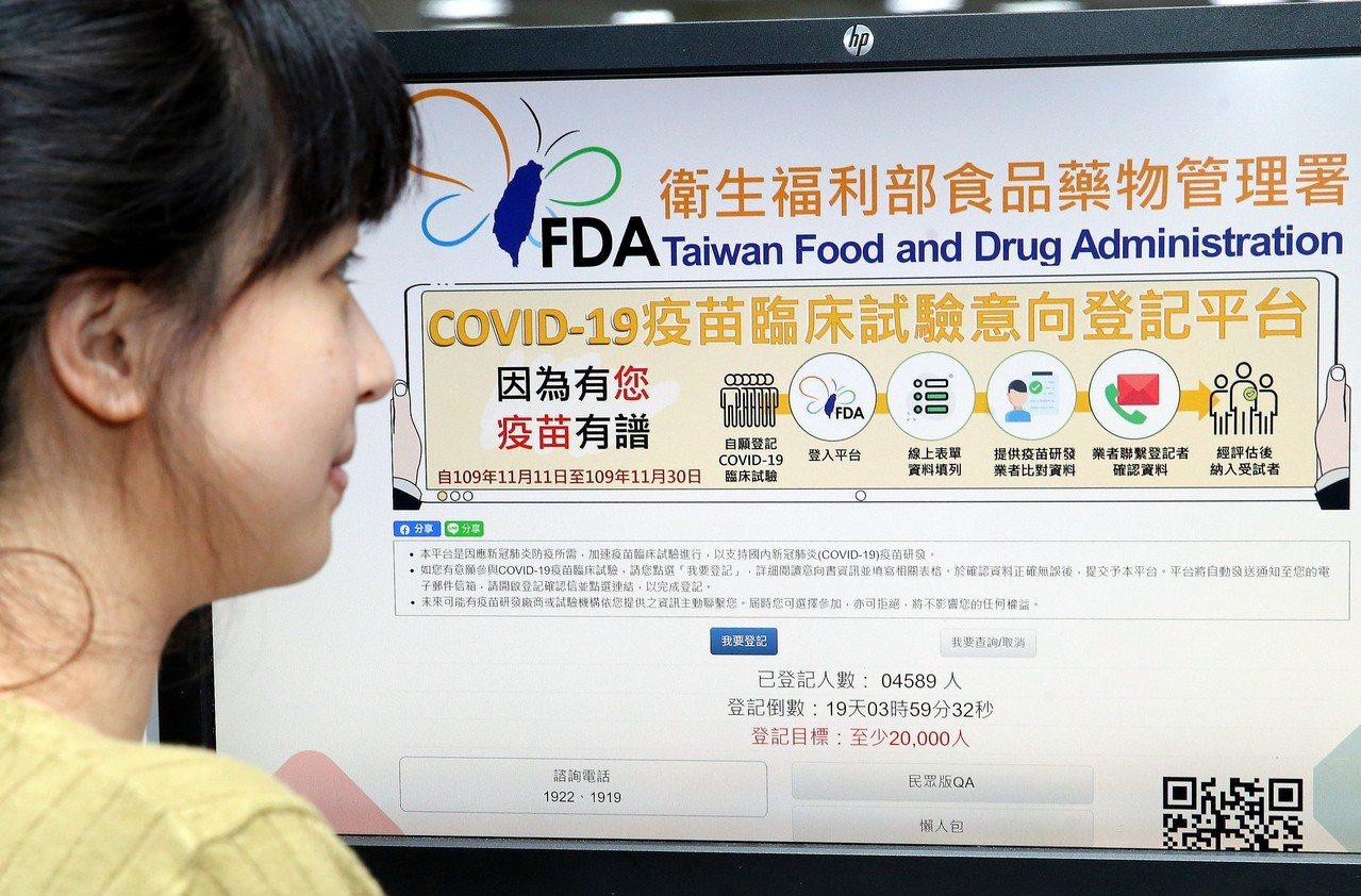 指揮中心11月中招募2萬名疫苗臨床試驗自願者,申請情況踴躍。圖/聯合報系資料照