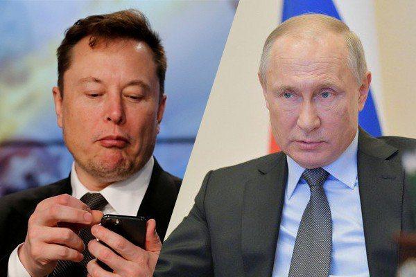 特斯拉執行長馬斯克(左)、俄羅斯總統普亭(右)