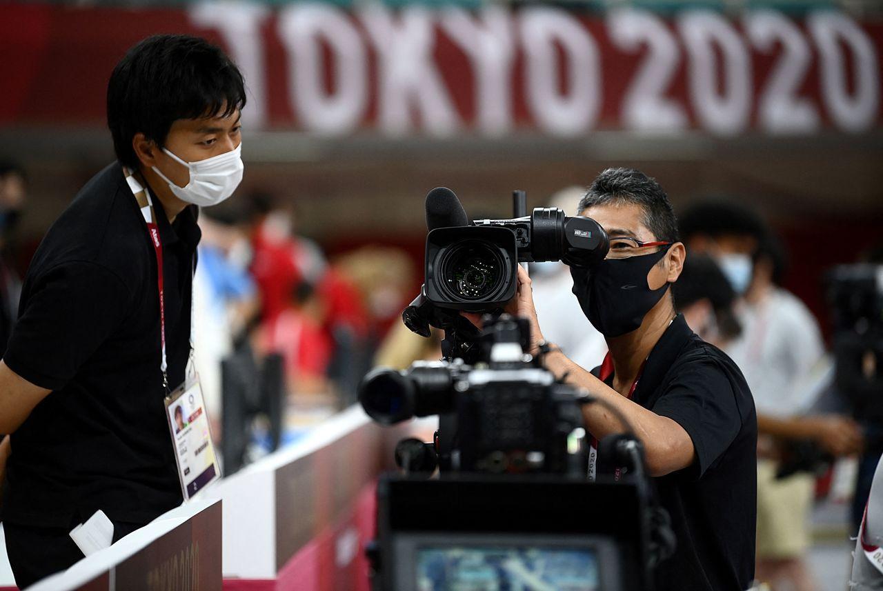 東京奧運電視攝影人員。法新社