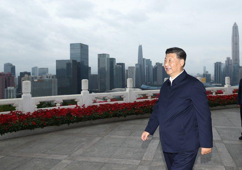 中國國家主席習近平在蓮花山公園遠眺特區新貌。(新華社)