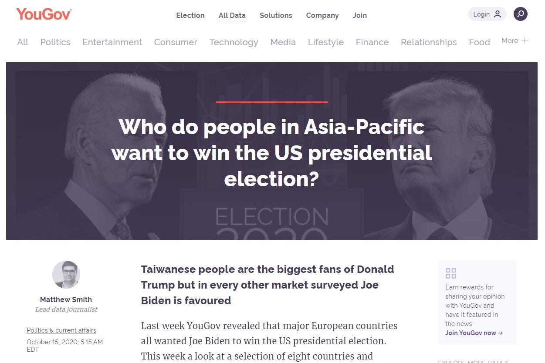 跨國民調機構:台灣成亞太八國唯一川粉國