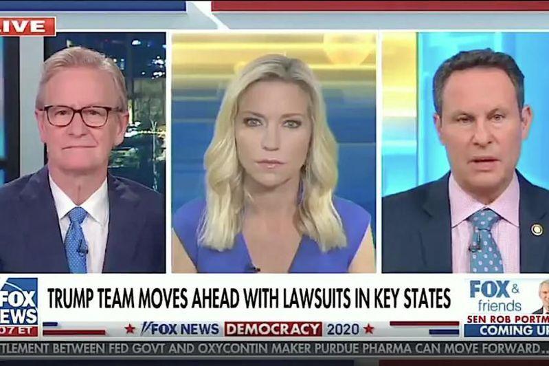 川普總統最愛看的「福斯與朋友」(Fox&Friends)主持人基爾米德(右)18日公開呼籲川普,為了國家利益,他應開始與拜登團隊交接。圖/福斯台電視截圖