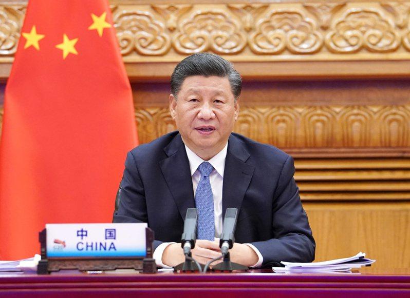 中國國家主席習近平21日在北京以視訊方式在G20峰會上發表演說。(新華社)