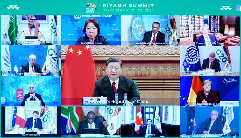 中國國家主席習近平22日在北京以視頻方式出席20國集團領導人第15次峰會第二階段會議。(新華社)
