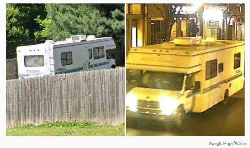 涉案人华纳的住所旁,可看到一辆休旅车(左图),与25日爆炸案中的休旅车(右图)类似。(Google地图)(photo:UDN)
