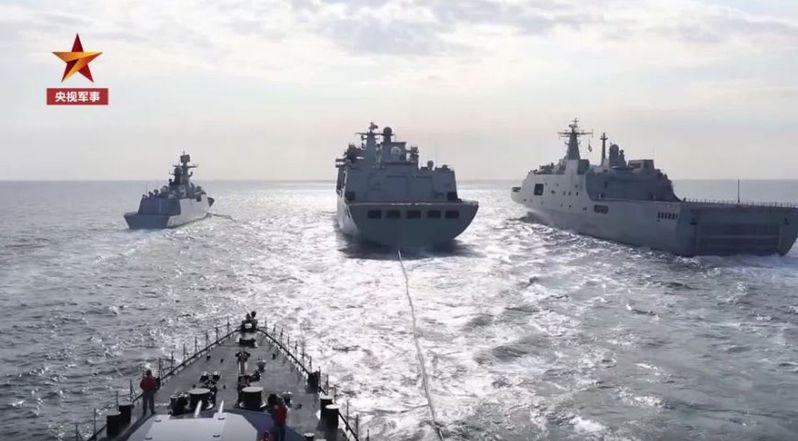 中國在東海、南海練兵。(視頻截圖)