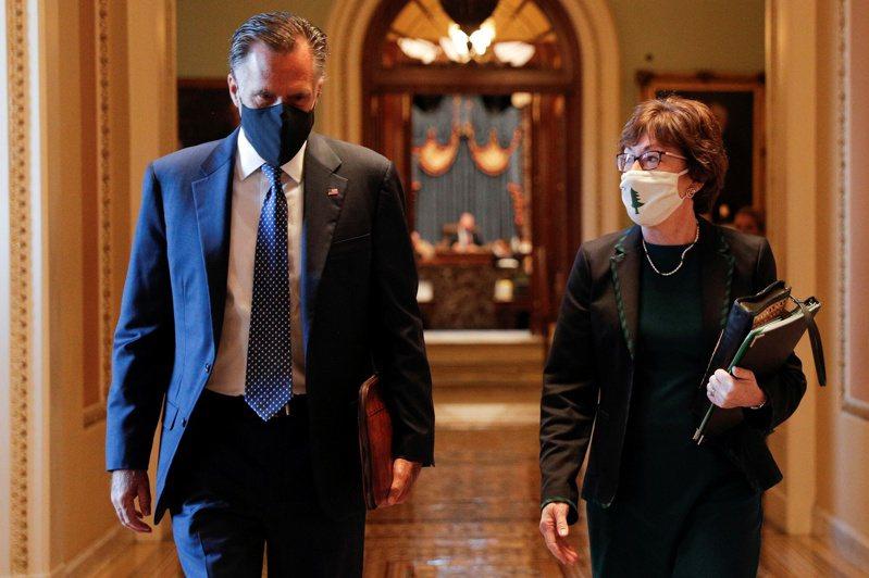 緬因州聯邦參議員柯林斯(右)、猶他州聯邦參議員羅穆尼(左)等31日聯名致函拜登總統,要求協商縮減疫情經濟紓困法案規模。(路透)