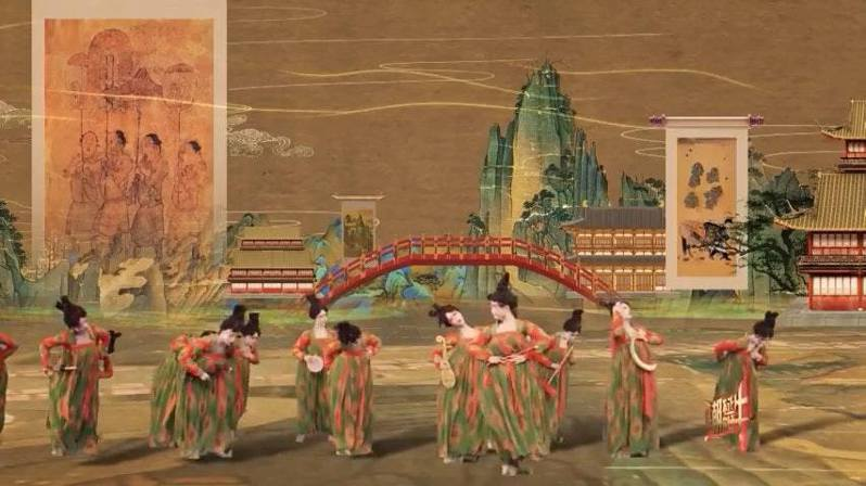 「唐宮夜宴」出現了大量著名文物及古代名畫。(視頻截圖)