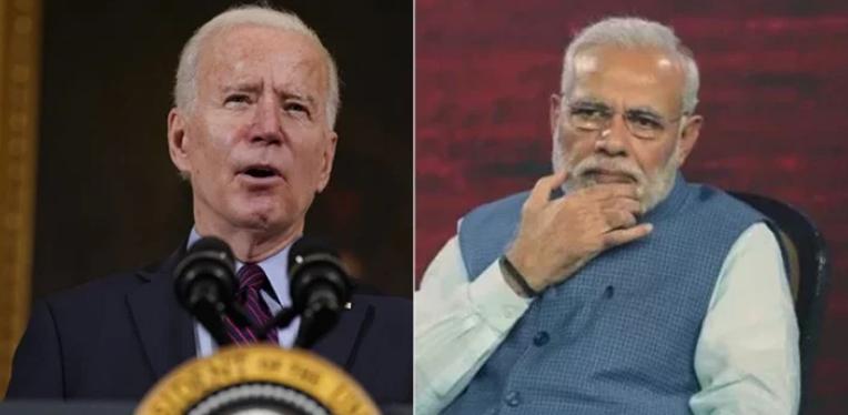 美國總統拜登(左)和印度總理莫迪(右)在電話中同意透過「四方安全對話」(Quad)加強印太地區的安全,這被視為反擊中國在印太地區日益獨斷的措施。(美聯社)