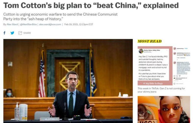 圖為VOX新聞網對美國共和黨參議員柯頓這一「大計畫」的報導。(取材自環球時報)