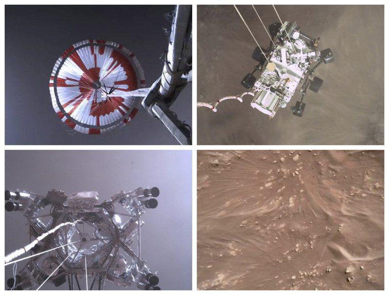 NASA於22日公布18日著陸火星的探測器「毅力號」的新一批視頻與照片,描述毅力號進入火星大氣,於距離火星表面上空七哩時展開降落傘並著陸的畫面。(美聯社)