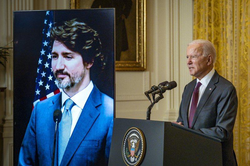 拜登總統23日下午與加拿大總理杜魯多舉行近兩小時的視訊雙邊會談。(歐新社)