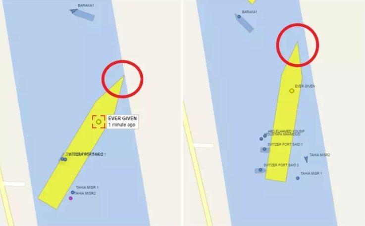 長賜號原是橫擋運河中間(左圖),29日船頭已大幅擺正,逐漸脫離岸邊。圖/取自VesselFinder