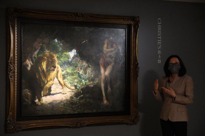 徐悲鴻油畫巨作「奴隸與獅」時隔15年再現拍賣市場 。(新華社)