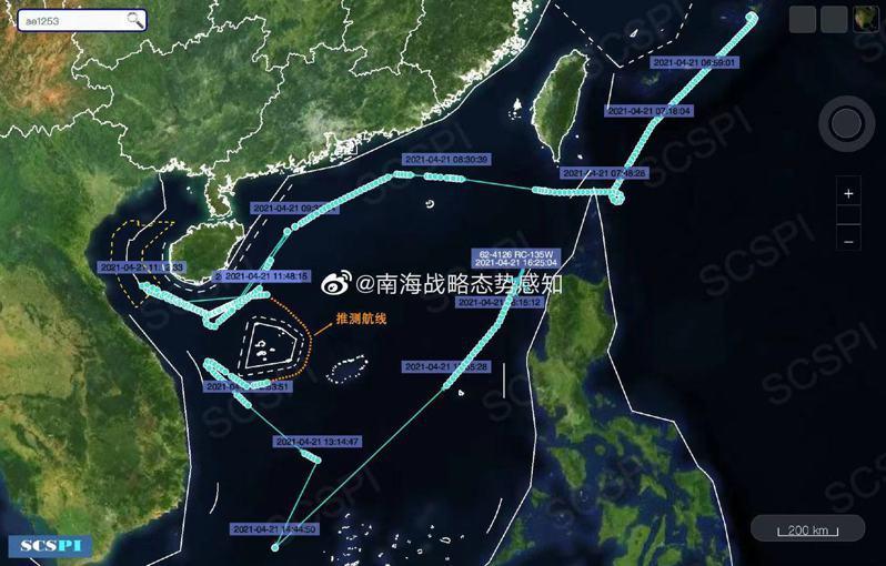 美軍機進入南海 近距離偵查廣東、海南等地。(取材自「南海戰略態勢感知計畫」微博)