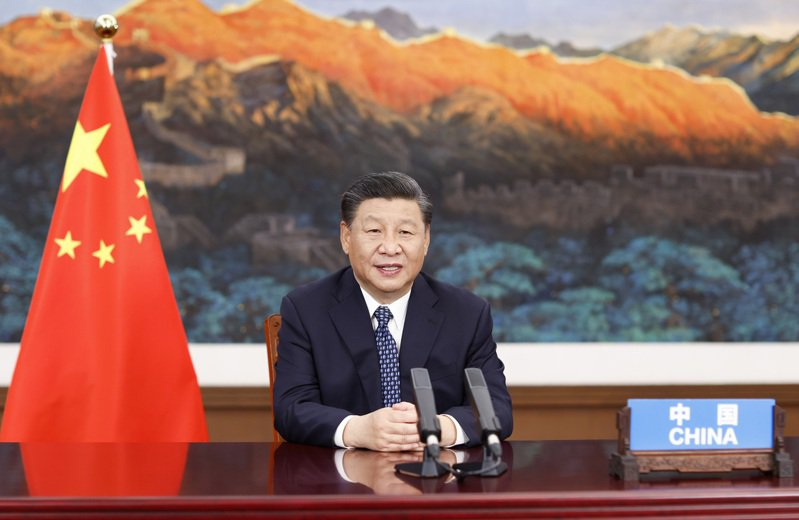 中國國家主席習近平21日在北京以視頻方式出席全球健康峰會。(新華社)