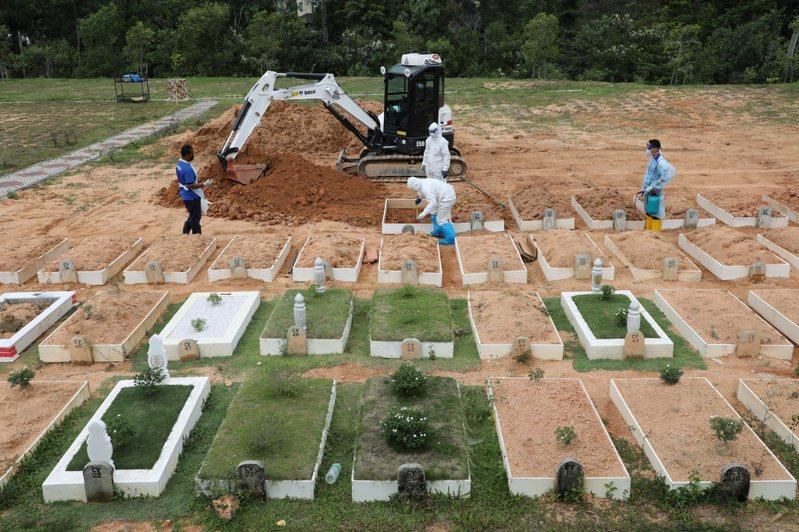 馬來西亞雪蘭莪州八打靈再也市一座公墓的工作人員穿著防護裝,將新冠死者屍體埋葬。(路透)