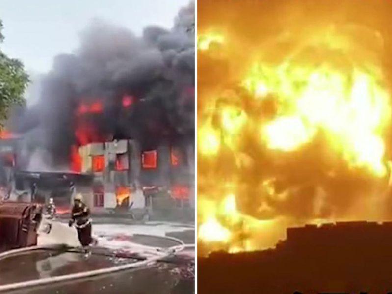 河南登封鋁合金工廠爆炸,火光濃煙沖天。(影片截圖)