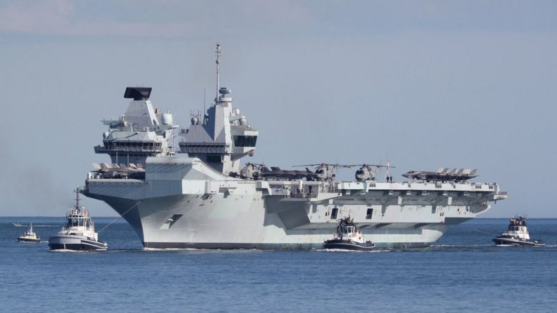英國伊麗莎白女王號航母打擊群正穿過南海。(取材自英國和愛爾蘭的國家通訊社PA Media)