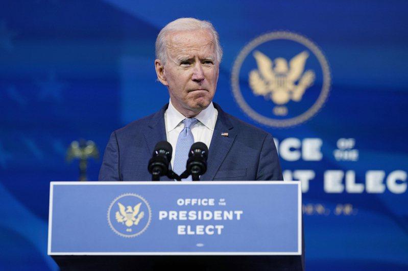 準總統拜登發表演講。美聯社