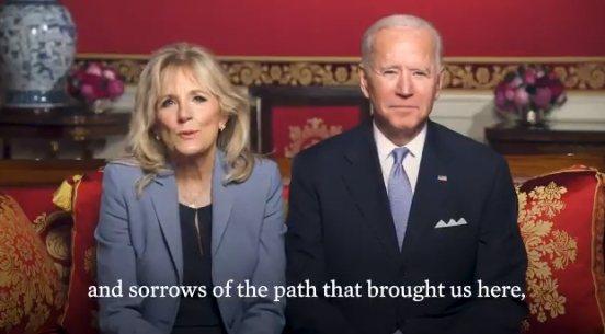 拜登總統(右)與第一夫人吉兒,向所有過農曆新年的人祝賀新年快樂。  圖/擷取自推特